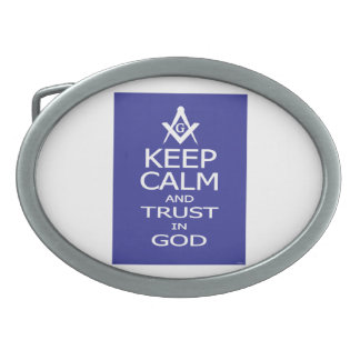 KEEP CALM AND TRUST IN GOD OVAL BELT BUCKLE