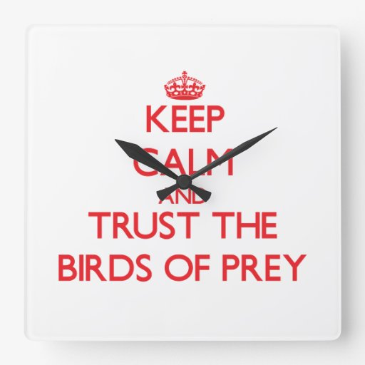 Keep calm and Trust the Birds Of Prey Square Wall Clock