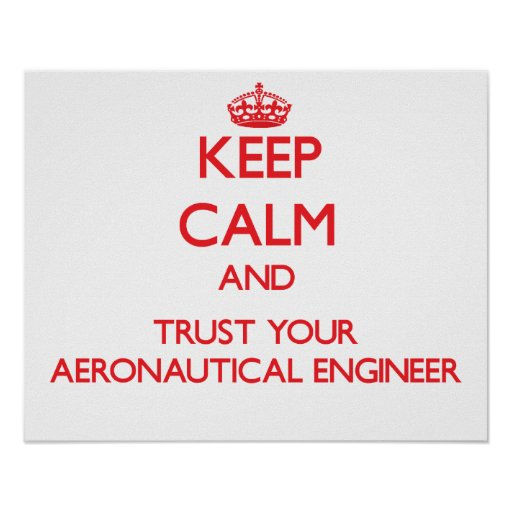 Keep Calm and Trust Your Aeronautical Engineer Posters