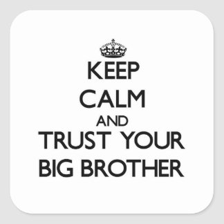 Keep Calm and Trust  your Big Brother Square Stickers