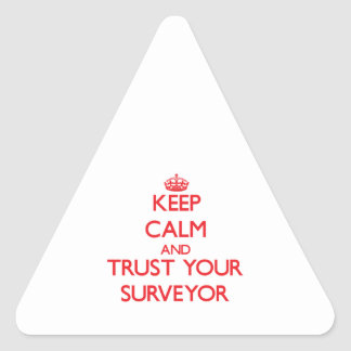 Keep Calm and trust your Surveyor Triangle Stickers