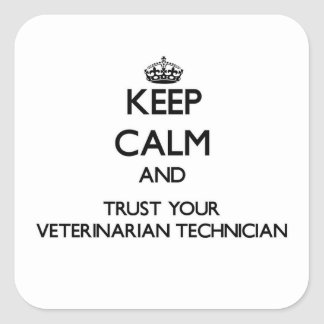 Keep Calm and Trust Your Veterinarian Technician Square Sticker