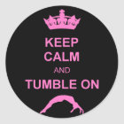 Keep calm and tumble gymnast classic round sticker