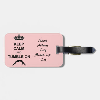 Keep calm and tumble gymnast luggage tag