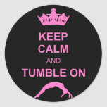Keep calm and tumble gymnast round stickers
