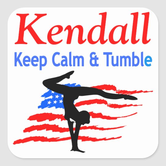 KEEP CALM AND TUMBLE PERSONALIZED GYMNAST STICKER