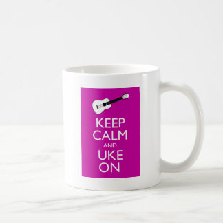 Keep Calm and Uke On (Fuschia) Coffee Mug