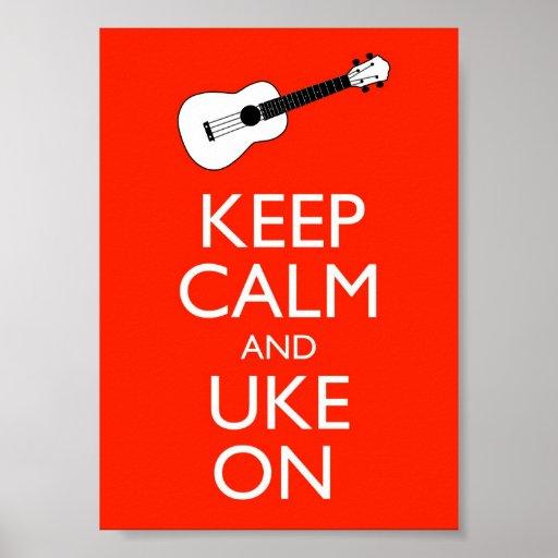 Keep Calm And Uke On Poster Print