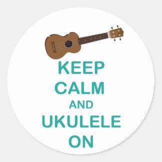 Keep Calm and Ukulele On unique Hawaii fun print Round Sticker
