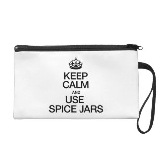 KEEP CALM AND USE SPICE JARS WRISTLET CLUTCHES