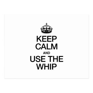 KEEP CALM AND USE THE WHIP POSTCARD