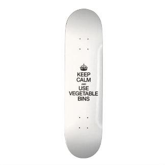 KEEP CALM AND USE VEGETABLE BINS SKATE DECK