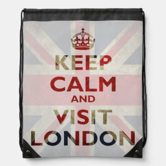 Keep Calm and Visit London Union Jack Drawstring Bag