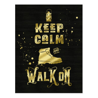 Keep Calm and Walk On Gold Hiking Boot Typography Postcard