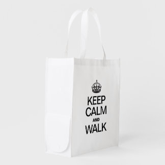 KEEP CALM AND WALK REUSABLE GROCERY BAG
