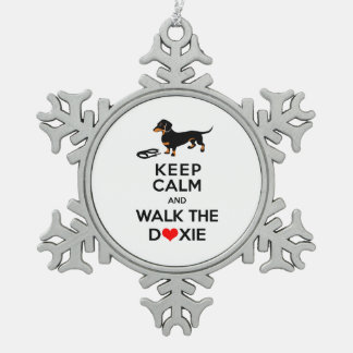 Keep Calm and Walk the Doxie - Cute Dachshund Snowflake Pewter Christmas Ornament