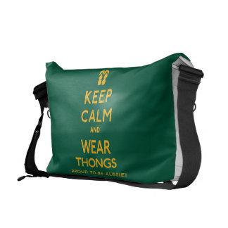 Keep Calm and Wear Thongs! Messenger Bags