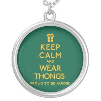 Keep Calm and Wear Thongs! Silver Plated Necklace