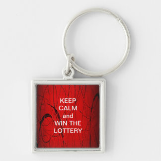 KEEP CALM and WIN THE LOTTERY RED PARTY Silver-Colored Square Keychain