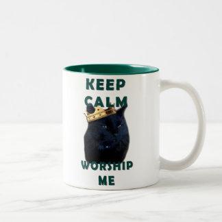 Keep Calm and Worship Me Two-Tone Coffee Mug