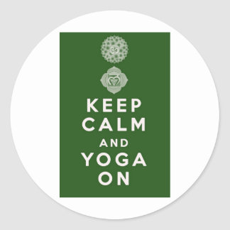 Keep Calm and Yoga On Round Sticker