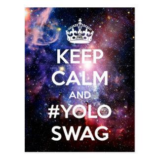 Keep calm and #yoloswag postcard
