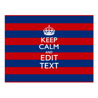 KEEP CALM AND Your Text on Blue Stripes Postcard
