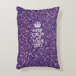 Keep Calm and Your Text on Stylish Purple Accent Pillow