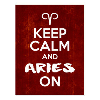Keep Calm Aries On Birthday Astrology Postcard