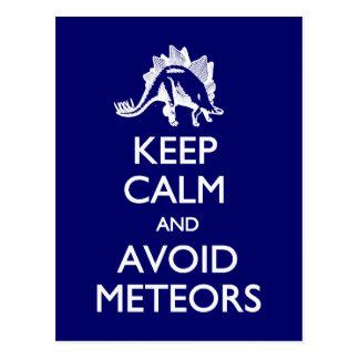 Keep Calm Avoid Meteors postcard