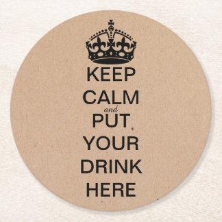 Keep Calm Black Crown Paper Coasters