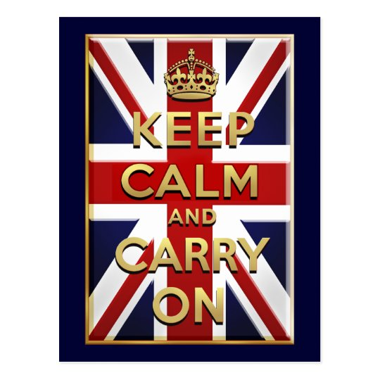 Keep Calm British flag Postcard