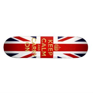 Keep Calm British Flag Union Jack GB Carry On Skate Deck