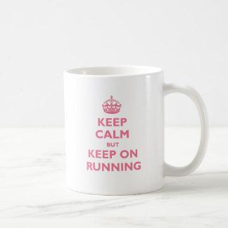 Keep Calm But Keep On Running (pink) Mug