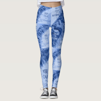 KEEP CALM BUY ART - Blue Leggings
