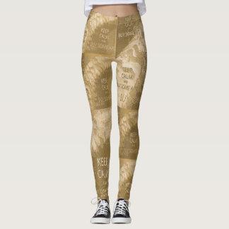 KEEP CALM BUY ART - Cream Leggings