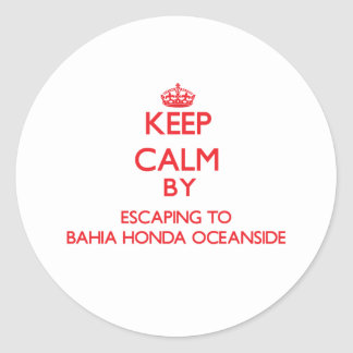 Keep calm by escaping to Bahia Honda Oceanside Flo Classic Round Sticker