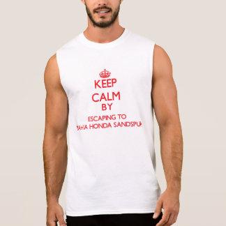 Keep calm by escaping to Bahia Honda Sandspur Flor Sleeveless Shirts