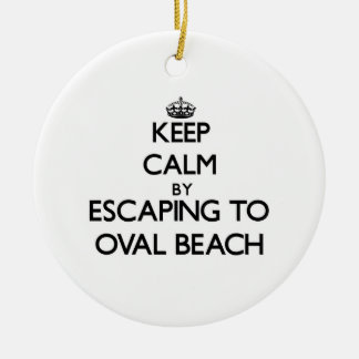Keep calm by escaping to Oval Beach Michigan Round Ceramic Ornament