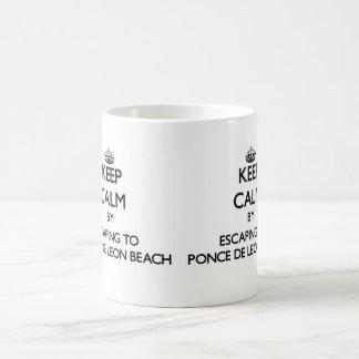 Keep calm by escaping to Ponce De Leon Beach Flori Classic White Coffee Mug