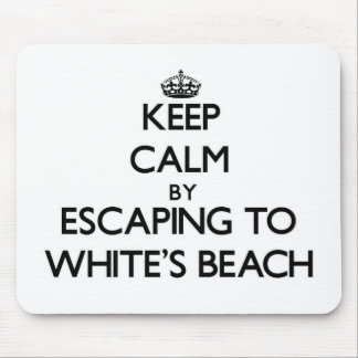 Keep calm by escaping to White'S Beach Wisconsin Mousepads