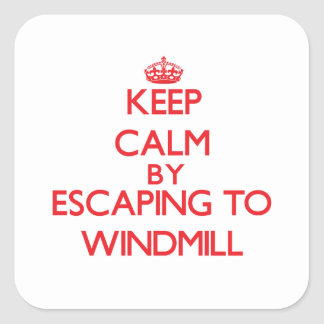 Keep calm by escaping to Windmill Massachusetts Square Sticker