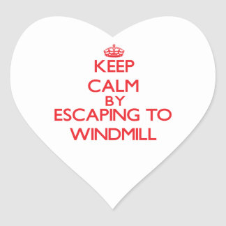 Keep calm by escaping to Windmill Massachusetts Heart Stickers