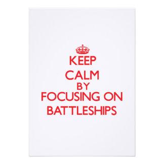 Keep Calm by focusing on Battleships Custom Invitations