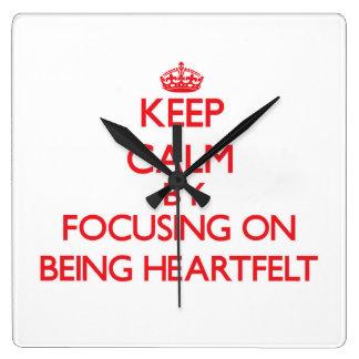 Keep Calm by focusing on Being Heartfelt Wallclock