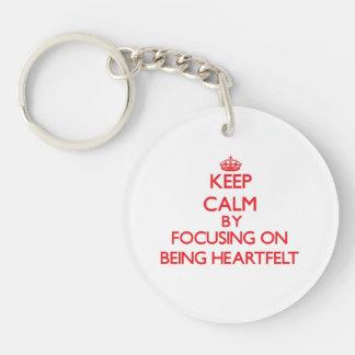 Keep Calm by focusing on Being Heartfelt Key Chain