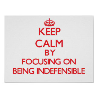Keep Calm by focusing on Being Indefensible Poster