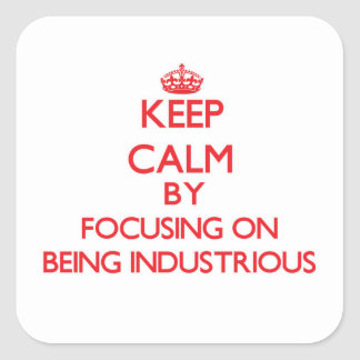 Keep Calm by focusing on Being Industrious Stickers