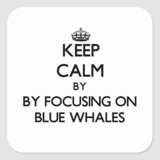 Keep calm by focusing on Blue Whales Square Sticker
