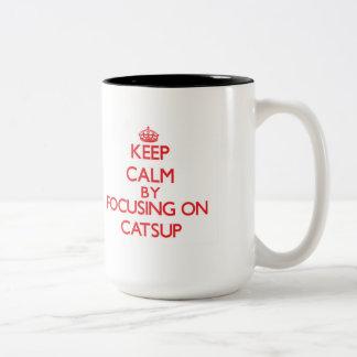 Keep Calm by focusing on Catsup Two-Tone Mug